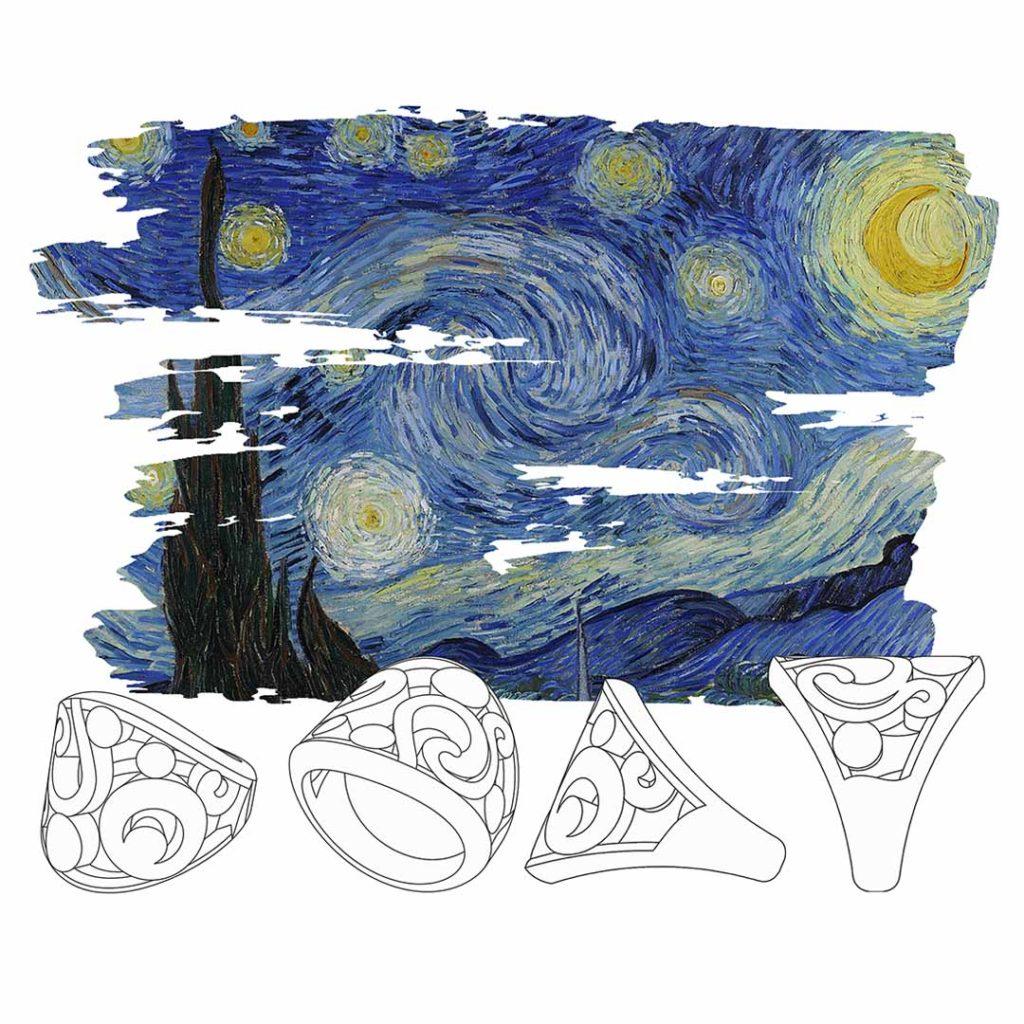 Anelli bozzetto Notte Stellata Van Gogh - Maddalena Germano