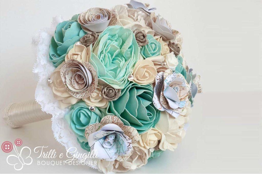 Bouquet sposa tema viaggio tiffany