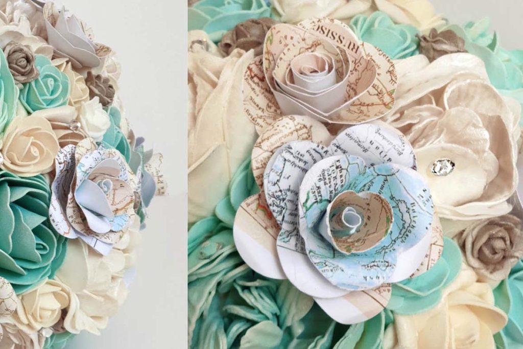 Bouquet sposa tema viaggio tiffany dettagli