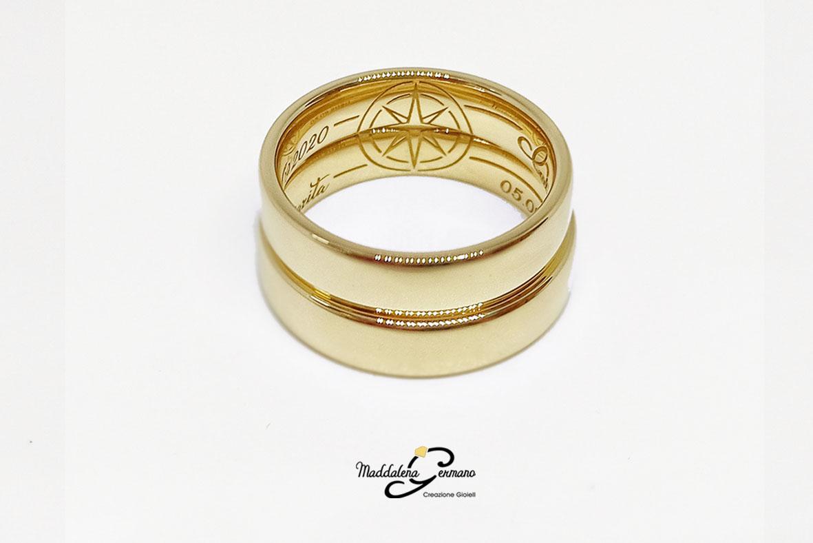 Fedi Nuziali Rosa dei Venti tema matrimonio viaggi oro giallo 18 carati - Maddalena Germano-