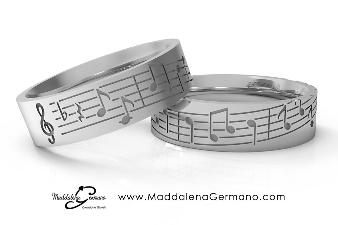 Fedi Nuziali oro 18 kt Matrimonio Tema Musica - Maddalena Germano