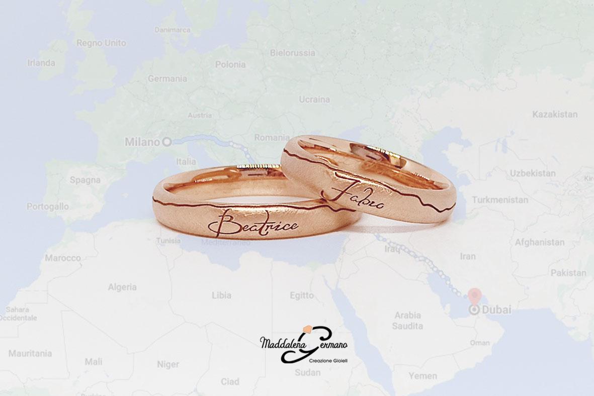 Fedi Nuziali tragitto Italia Dubaii tema matrimonio viaggi oro rosa 18 carati - Maddalena Germano-