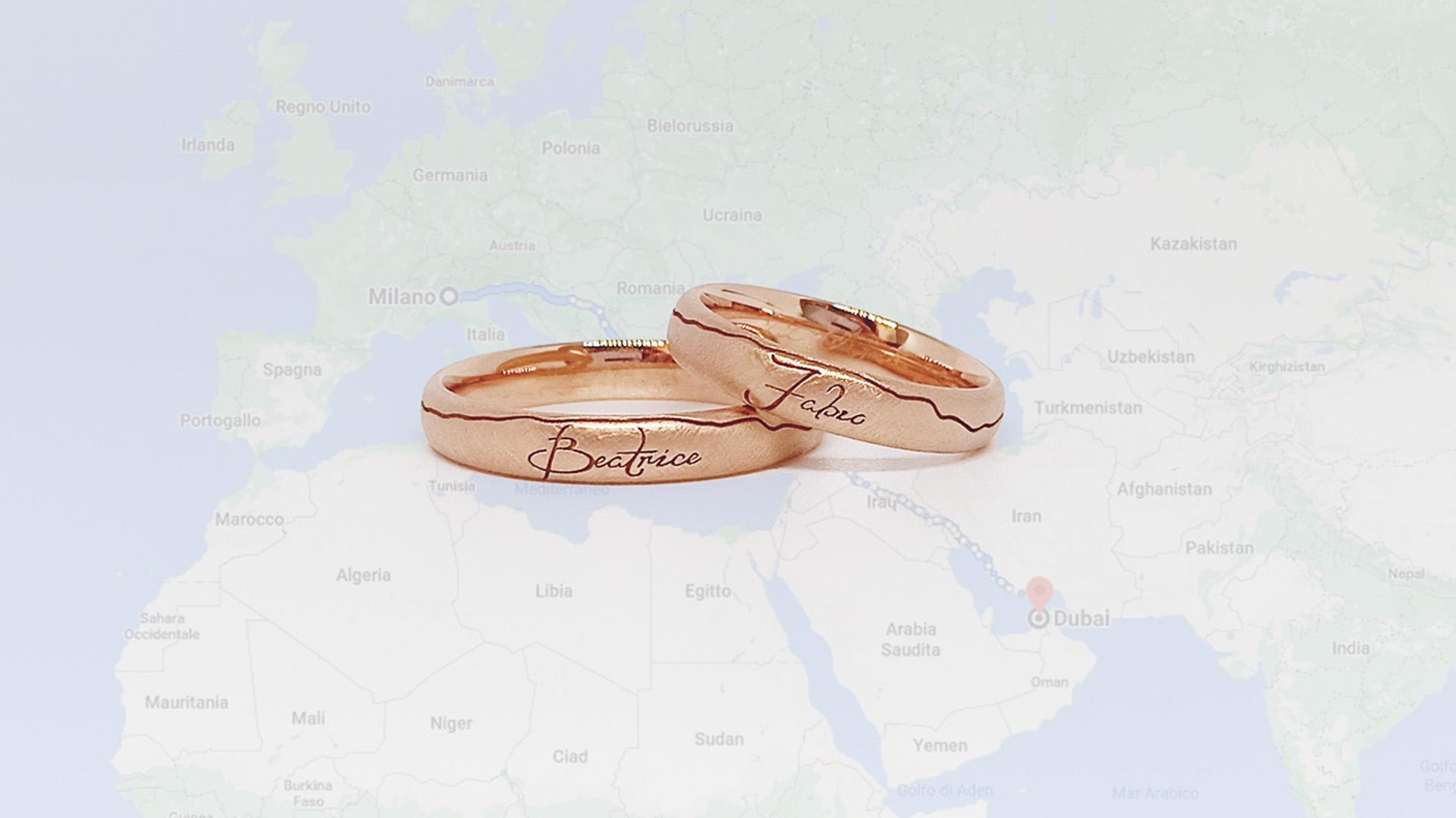 Fedi Nuziali oro rosa 18kt viaggio Italia Dubai - Maddalena Germano