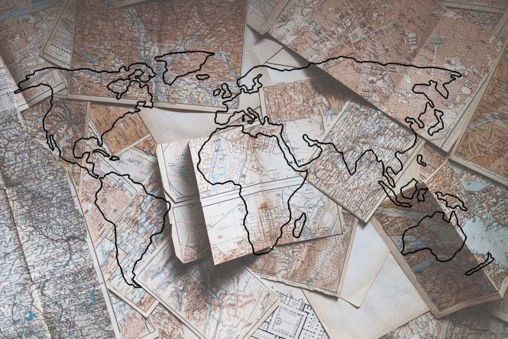 mappa del mondo con bozza