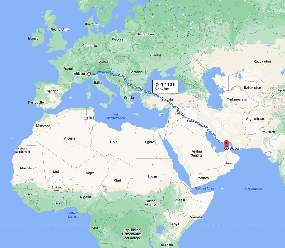 Fedi Nuziali viaggio Italia Dubai - Maddalena Germano_map
